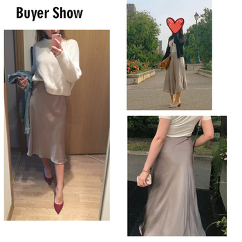 2019 Spring Simmer Women High Waist Satin Skirt Metallic Color Long Skirt Shiny Silk Imitation Midi Skirt 1