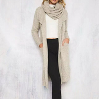 Fnboled Long Cardigan Coat Women Bow Neck Open Stitch Tops Warm Thicken Knitted Sweater Outwear For