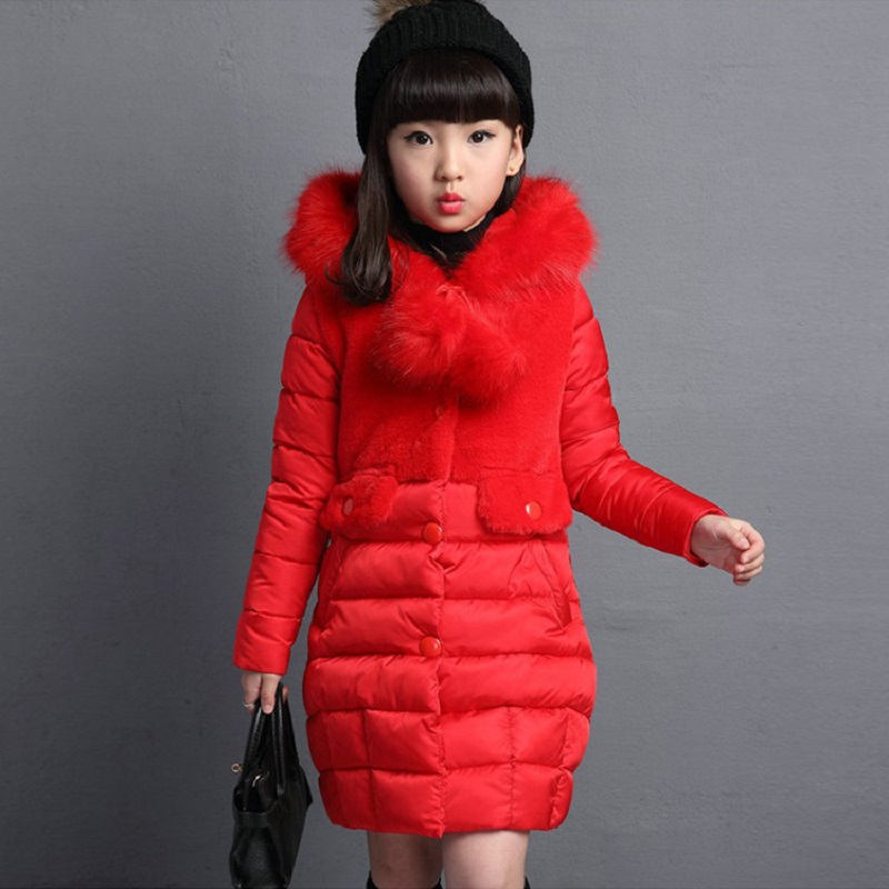 2018 winter new girl hair ball spell in the long section of cotton in the children's thick children's clothing jacket MF-13 2017 europe and the united states fashion color hooded long section of the windbreaker spring new cotton jacket girl red jacket
