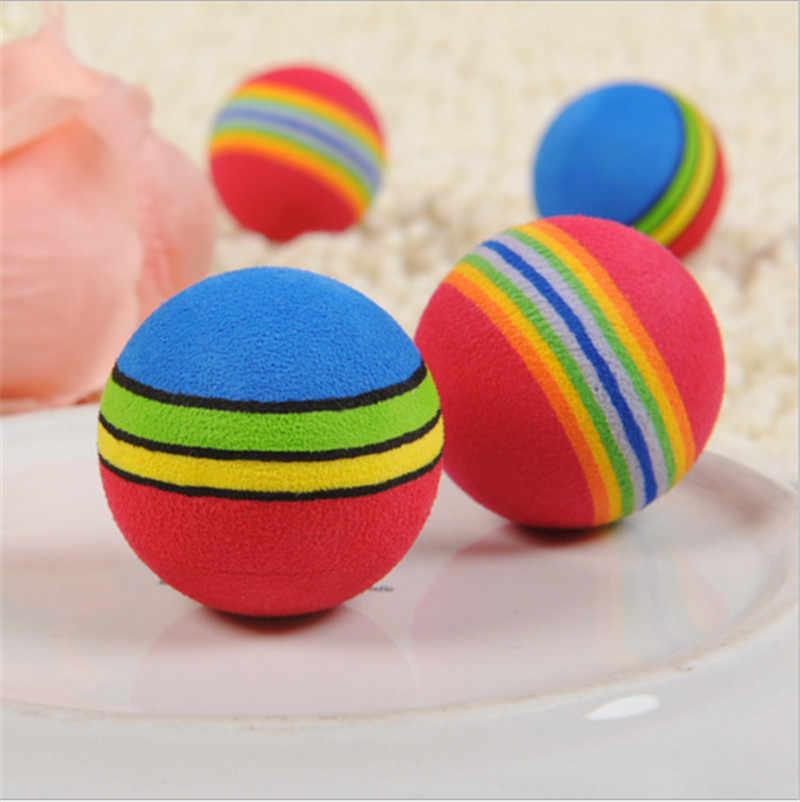 1 шт. милые цветные красочные мягкие пенопластовые радужные игровые мячи активные забавные игрушки для домашних кошек и собак случайный цвет