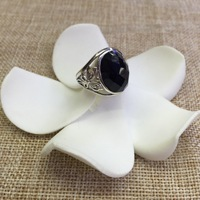 [S925] silver inlaid blue sandstone butterfly ring hollow fine opening