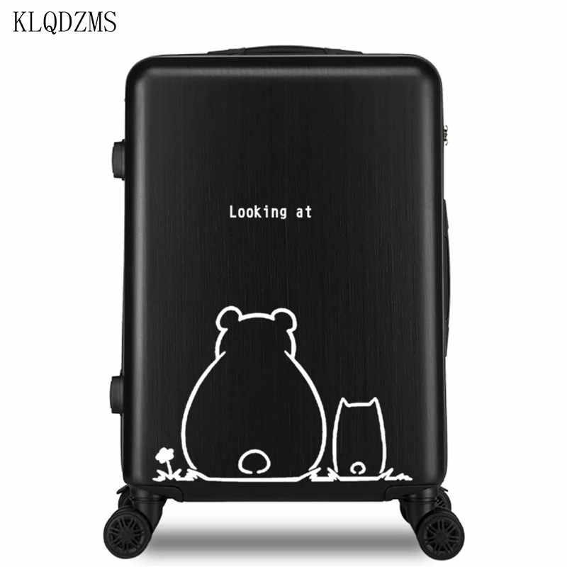 KLQDZMS serie de osos 20/22/24/26 pulgadas de dibujos animados equipaje spinner maleta ABS + PC equipaje de viaje en la rueda