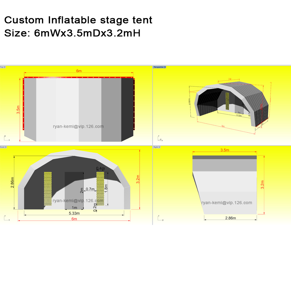 6mWx3.5mDx3.2mH custom inflatable stage tent cover