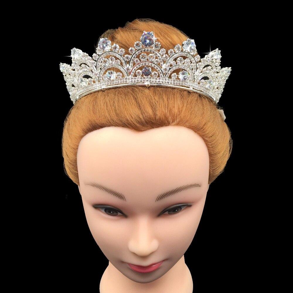 Image 2 - Hadiyana New Arrival Sparkling Zirconia Couronne De Mariage  Fashion Crystal Wedding Hair Accessories Crown for Women BC3435tiara  crowntiara crown for womencrystal hair accessories