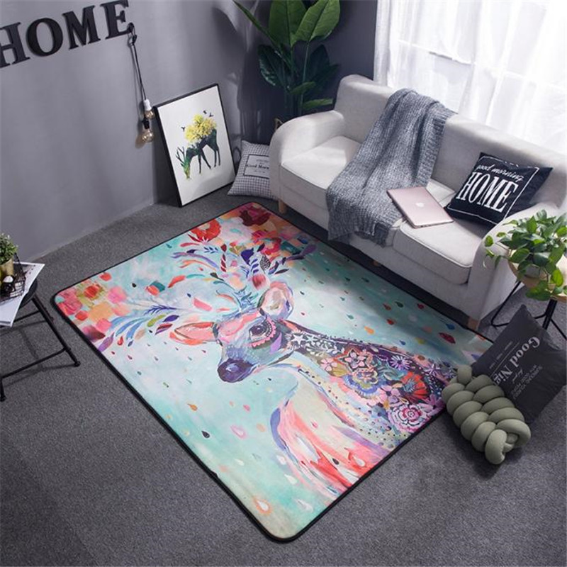 Fashion Colorful Artist Painting Draw Deer Elk Print Room Bedroom Decorative Area Rug Carpet Bathroom Floor Door Baby Play Mat