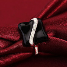 Women Girls Black Square Stone Geometry Silver Color Band Ring Party Jewelry Gift