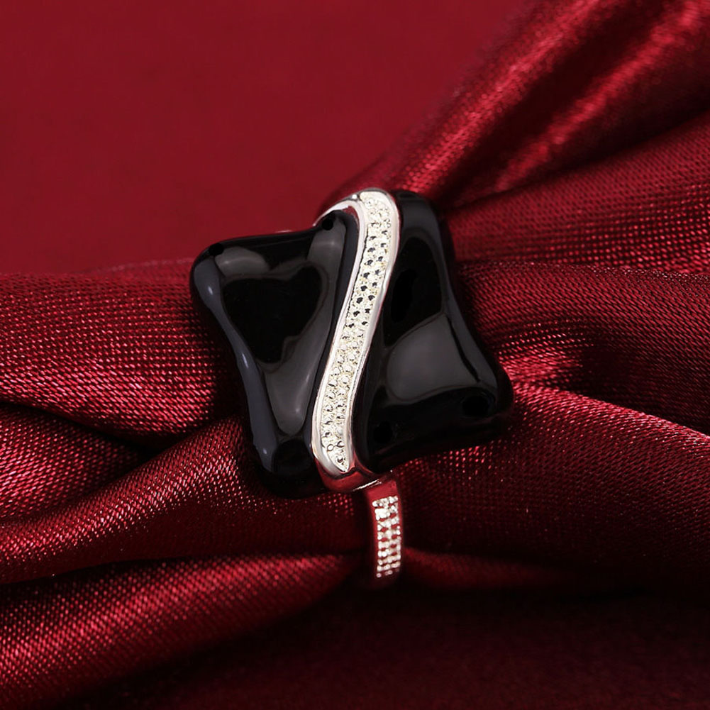 Women Girls font b Black b font Square Stone Geometry Silver Color Band font b Ring