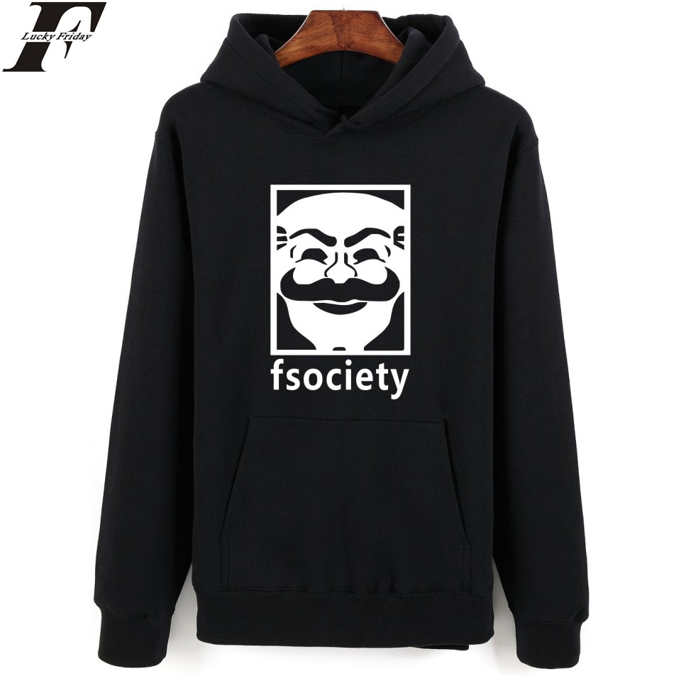 LUCKYFRIDAYF Mr Robot Hooded Mens Hoodies And Sweatshirts American Popular Drama Cartoon Print Hoodies Men Hip Hop Funny Clothes