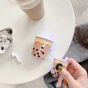 Image 3 - Wireless Bluetooth Earphone Case silicone soft bubble tea milk cream tea pattern case for airpods 1/2 BIA124