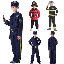 International Children's Day boy costumes halloween cosplay costume policeman clothes fireman clothes with hat party postman chlidren s policeman cosplay costume policeman costume with durable case police officer costume for kids