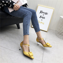 Liren 2019 Summer Fashion Pointed Toe Square Pattern Decoration Shallow Buckle Strap Rhinestone High Thin Heels Sandals