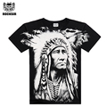 Rocksir 2016 Men Brand New Indian man Full Print short-sleeve Black T-shirt rock casual high street t-shirt rock for men