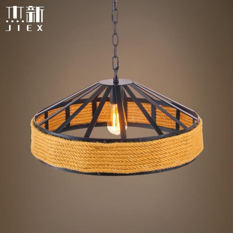 Nordic pastorální lano přívěsek lampa retro bar kavárna kreativní slaměný klobouk stínidlo obýváku přívěsek světlo