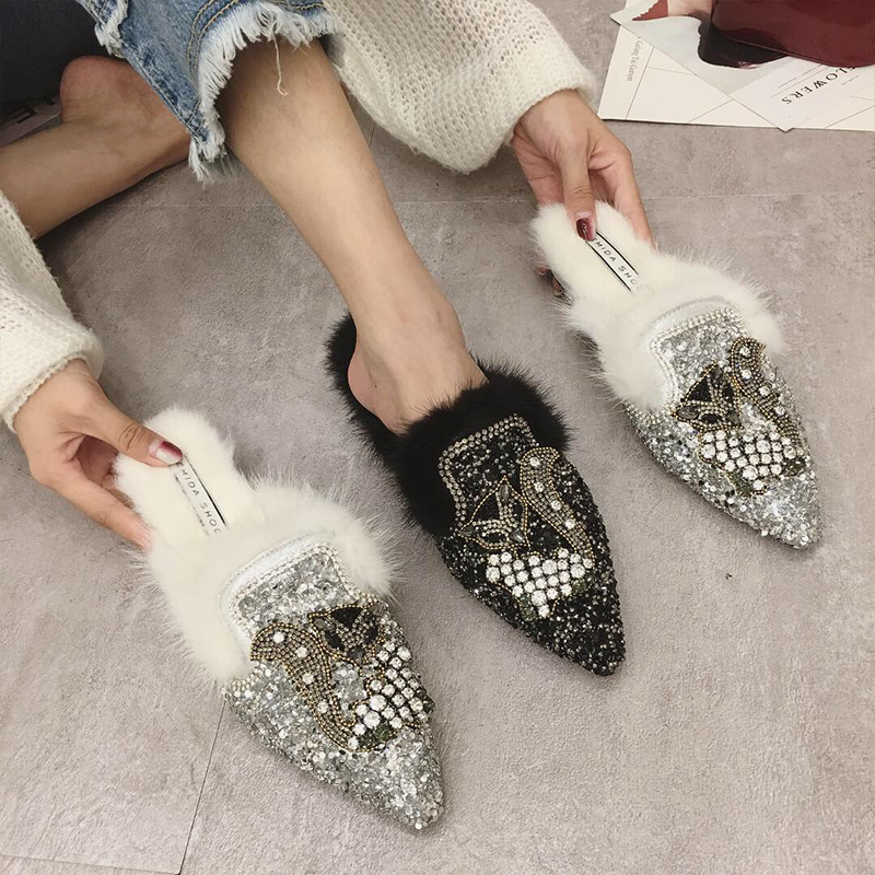 Noir Dame Strass Femme Mules Pointu 2019 Bout Bling Fourrure Appartements De Femelle Swyivy argent Slipper Nice Printemps Chaussures Casual Demi Renard HgEwnB