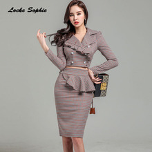 2 piece set women's skirts and shirts 2018 Autumn Cotton blended falbala irregular suits set ladies Skinny business suit twinset