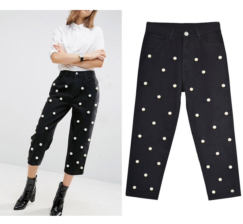 2017 Women`s high waist straight loose wide leg cowboy broken pants pendant big pearl lady pants street wild (2)