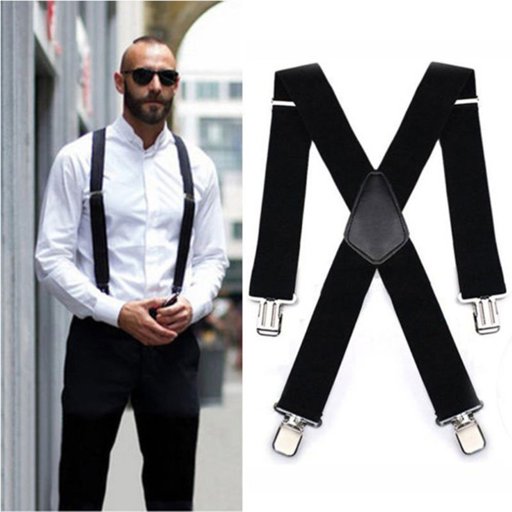 Male Suspenders Leather Alloy 4 Clips Braces Male Vintage Suspensorio Trousers Strap Braces 5*120cm Elastic Pants Straps Gift