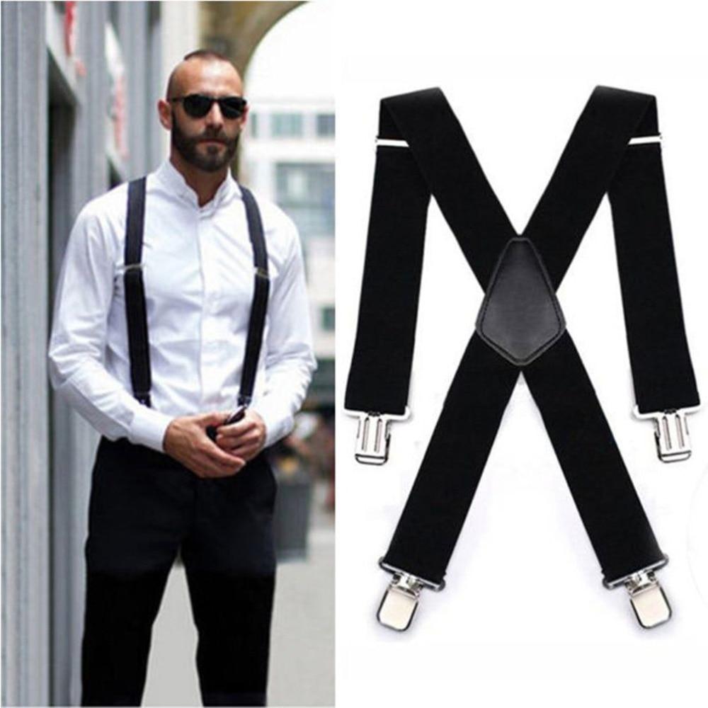 Male Suspenders Leather Alloy 4 Clips Braces Male Vintage Suspensorio Trousers Strap Braces 5*120cm Elastic Pants Straps Gift