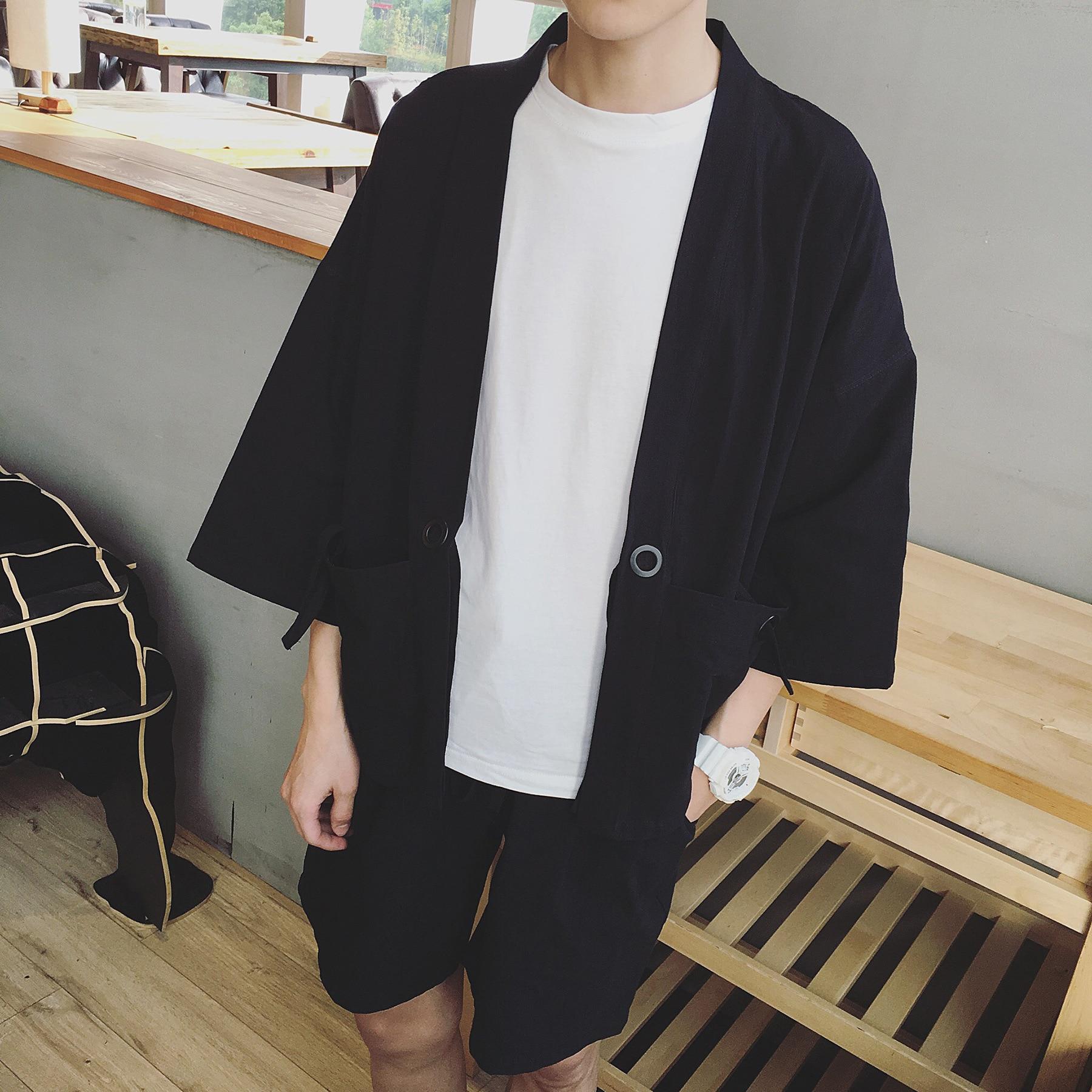 Spring And Summer Large Japanese Literary Men China Style Cotton Seven Sleeve Kimono Robe Shawl Cardigan Jacket M