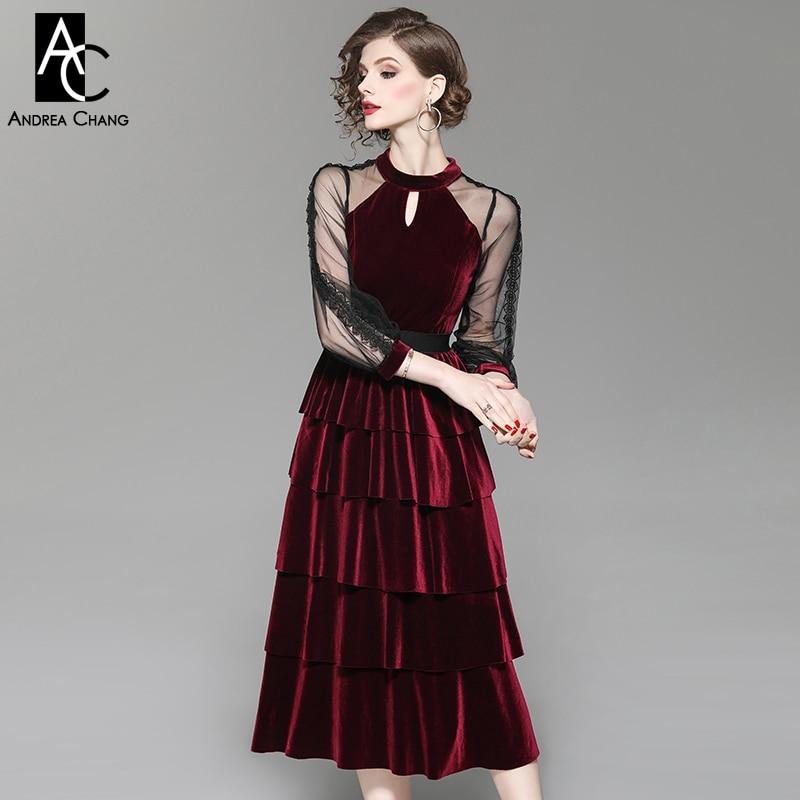 2bae4eb4b9cf Manicotto Vestito Dell abito Del Primavera Rosso Vitello Garza borgogna  Donna Il Nero Lunghezza Nero Velluto Di ...