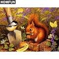 Алмазная живопись HOMFUN A01513 «белка и птица», полноразмерная/круглая вышивка крестиком, 5D украшение для дома, подарок