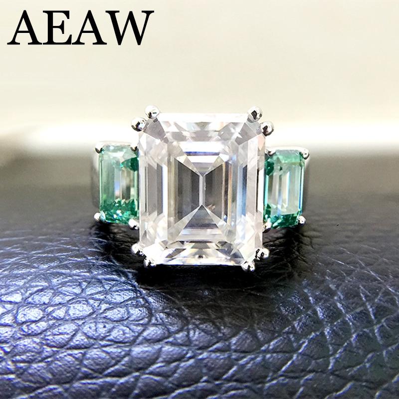 Bague Baguette émeraude solide en or blanc 14 K 8ctw Moissanite et Accent Moissanite vert bijoux en or fin de luxe pour femmes