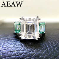 Solid 14K White Gold 8ctw Moissanite Emerald Baguette Ring And green Moissanite Accent luxury Fine gold jewelry for Women