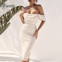 VC All Free Shipping 2020 Hot New Trendy Off The Shoulder Drape Design Slash Neck Celebrity Party Knee Length Bandage Dress