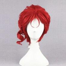 """Kakyoin Noriaki JOJO 14 """"Red Curlyสั้นสูงเส้นใยสังเคราะห์ผมคอสเพลย์วิกผม + หมวกวิกผม"""