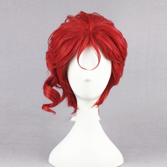 """Kakyoin Noriaki gelen JOJO 14 """"kırmızı kıvırcık kısa yüksek sıcaklık Fiber sentetik saç Cosplay peruk + peruk kap"""