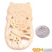 38x74mm Large Flower Basket Carved Bone Cabochon Beads For Jewelry Making 1 Pcs To Sale For
