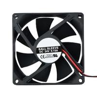 80x80x25mm 24V 2Pins DC Brushless PC Case CPU Cooling Fan 8025 Dual Ball Motor Cooler Fan 8cm Drop Shipping