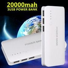 Banco de la Energía Para SAMSUNG powerbank 20000 mah 3USB backup Banco de la Energía 18650 energía de Reserva externo de la batería Para xiaomi iPhone