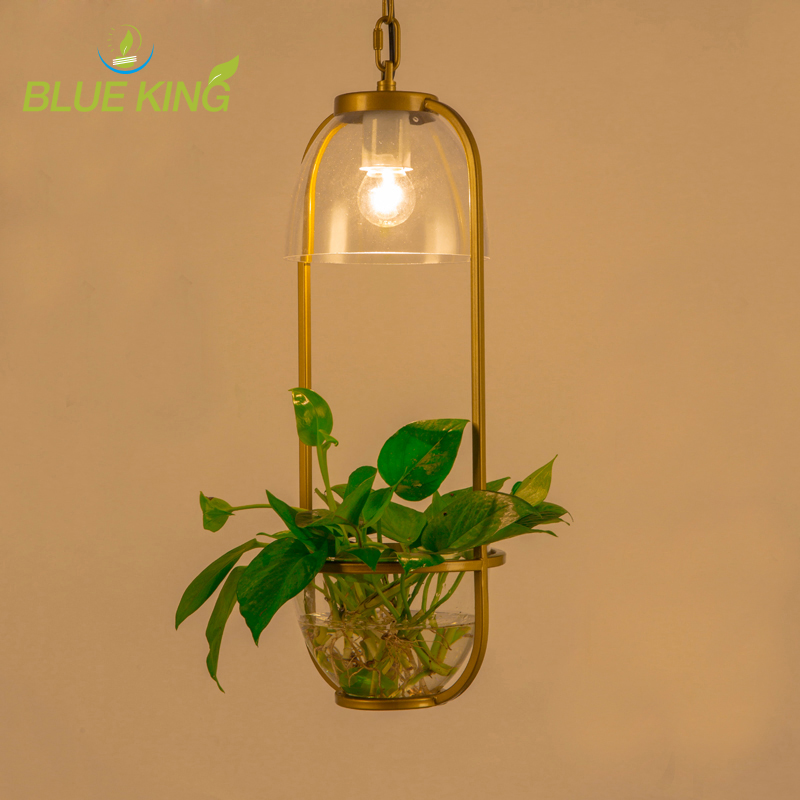 Nordic Plant hanging light Bar Vintage Lamp Restaurant E27 Lights Creative Potted Porch Glass pendant lamps Luminaire modern creative new vintage clear glass pendant lights copper hanging lamps for bar restaurant retractable wall lamp led bulbs