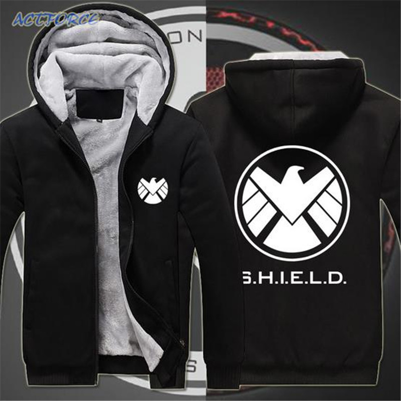 Free shipping Men's Clothing cosplay The Avengers Strategic Homeland Intervention Print Fleece Zipper Hoodies Sweatshirts