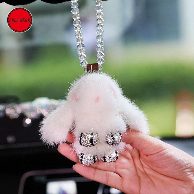Cute Plush Rabbit Car Rearview Mirror Hanging Pendant Hanger for Woman Girl Automotive Bling Bling Interior