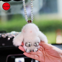 Cute Plush Rabbit Car Rearview Mirror Hanging Pendant Hanger for Woman Girl Automotive Bling Bling Interior Decoration Accessory