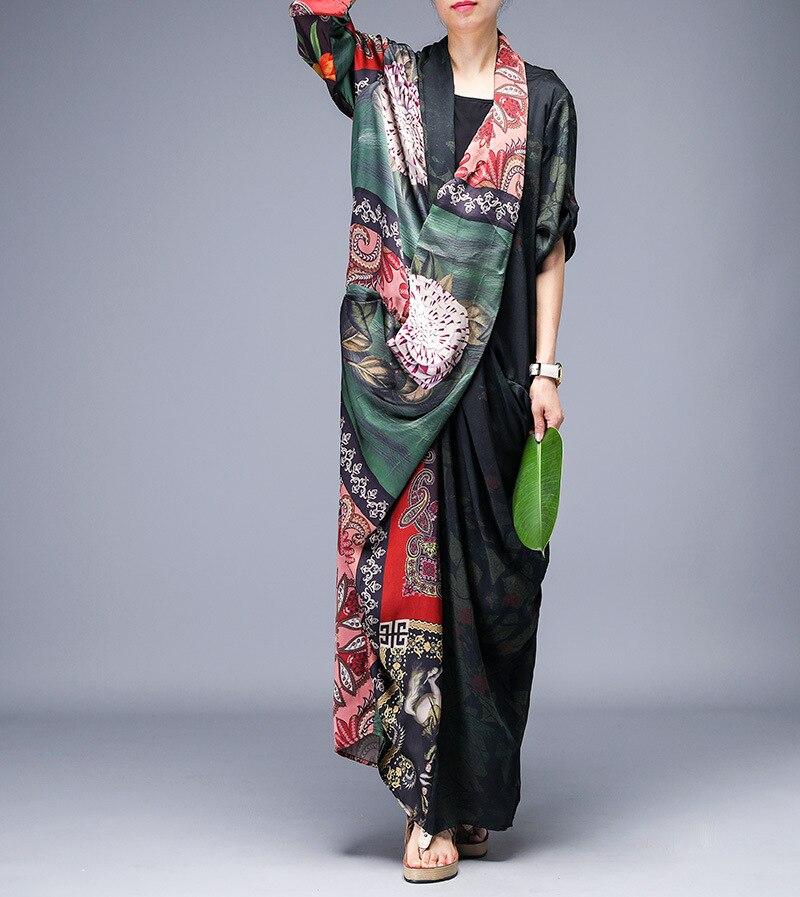 ผู้หญิงฤดูร้อนพิมพ์ชุดหลวมสุภาพสตรีพิมพ์ชุดวินเทจ 2019 บาง Cross ชุดชุดนางเงือก-ใน ชุดเดรส จาก เสื้อผ้าสตรี บน   1