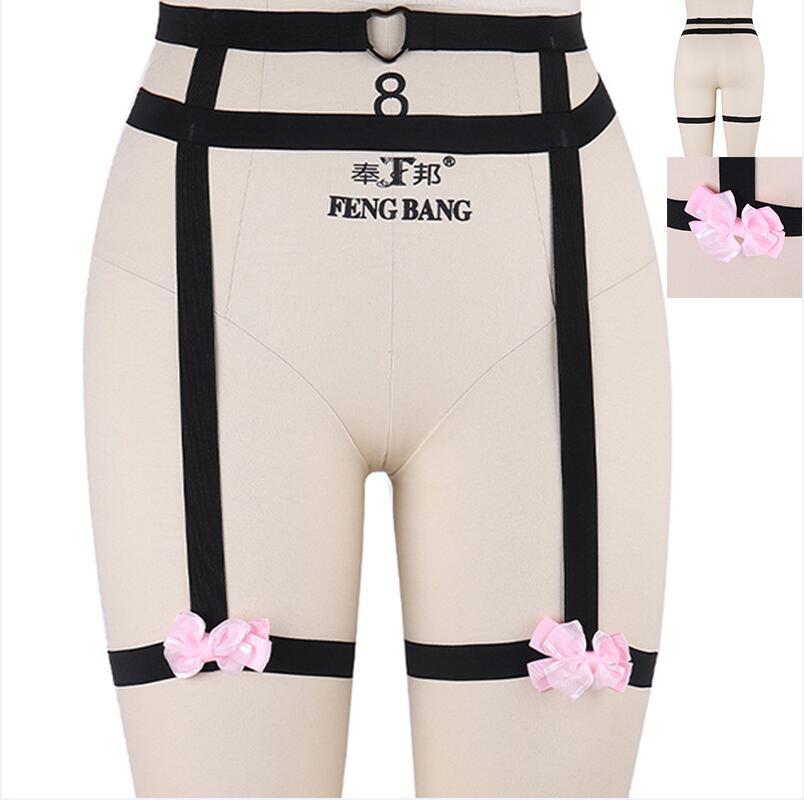 Дизайн розовый воротник бантик Жгут Бюстгальтер Kawaii Открытая грудь Связывание клетка для тела пастельный Готический пояс для тела - Цвет: P0049