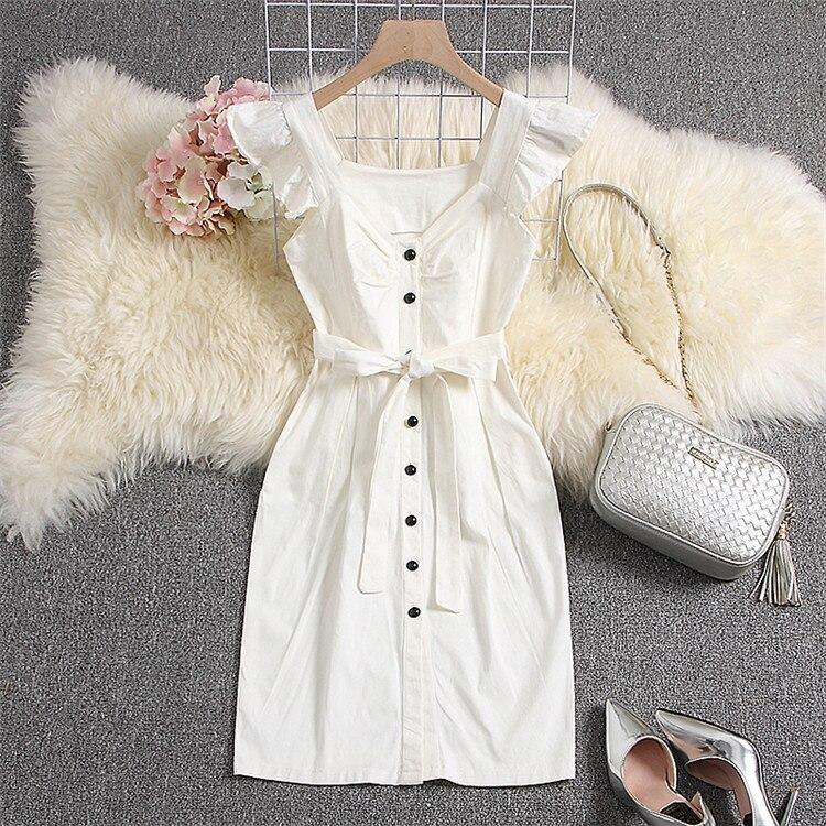 ALPHALMODA 18 New Polka Dot Shirt Pocket Dress Petal Sleeve Single Breasted Slim Sashes Women Fashion Summer Vestidos 24