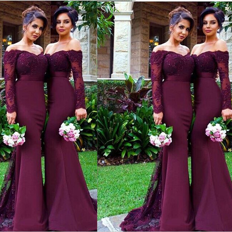 63815e22f94 SML 2016 Burgundy Lace Beach Party Mermaid Long Bridesmaid Dresses Arabic  Off-shoulder Long Sleeve Wedding Party Dress