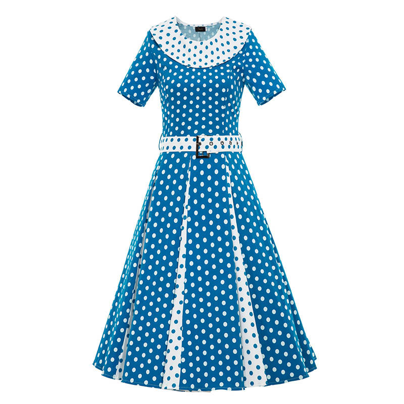 1950s Style Summer Knee Length Vintage Dress Blue Dot A