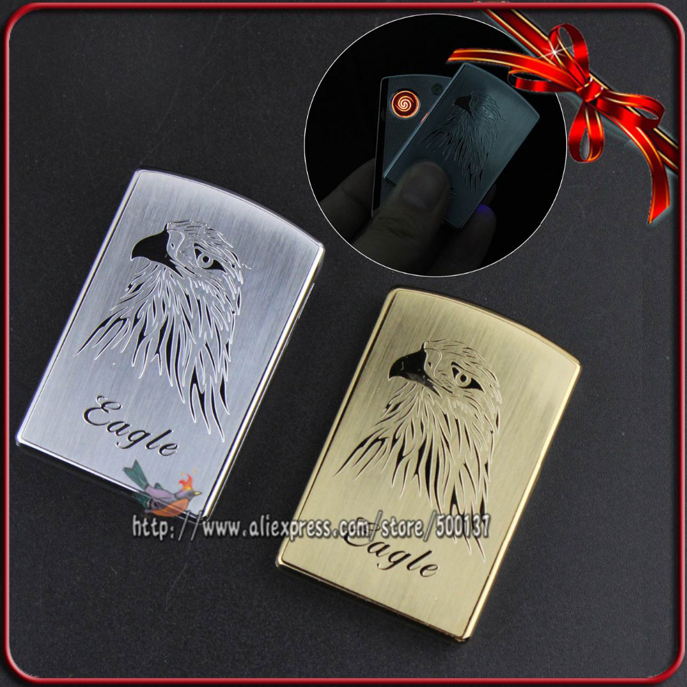 FIREDOG Metal Eagle Design Design Windproof Flameless Cigarette Metal Electronic USB Lighter