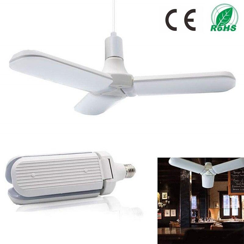 LED 45 W 85-265 V E27 CONDUZIU a Lâmpada Super Brilhante Dobrável Ângulo Da Pá Do Ventilador Ajustável Lâmpada Do Teto Casa luzes de Poupança de energia CE Rohs