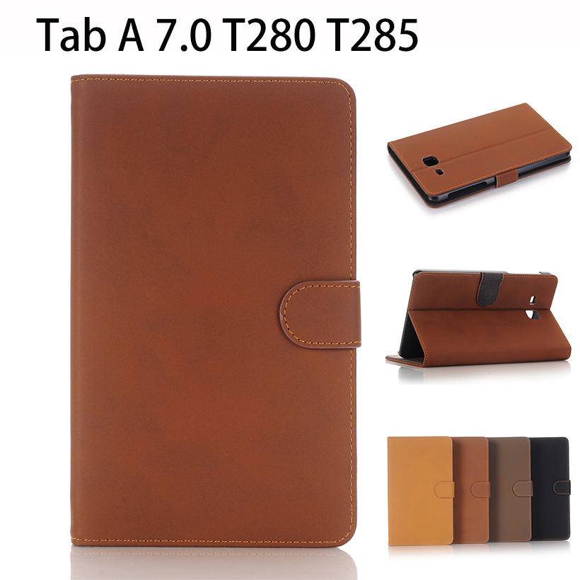 2016 Flip Leather Case For Samsung Galaxy Tab A A6 7.0 inch T285 SM-T280 T280 Cover Tablet Stand Funda Retro Style Shell Cases case cover for samsung galaxy tab a a6 10 1 p580 p585 10 1 inch tablet funda 360 degree rotating flip leather stand shell case