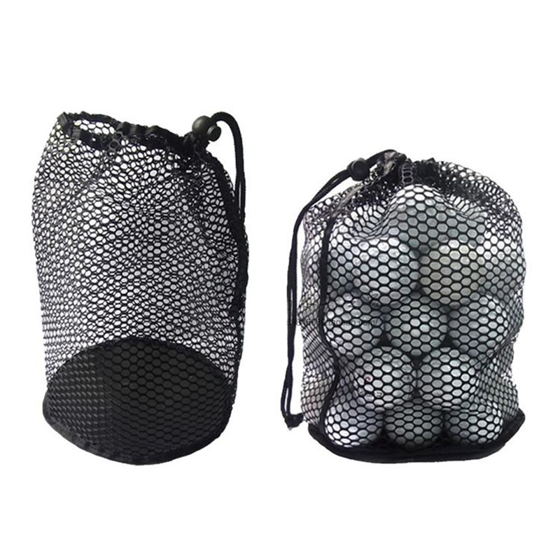 Golf Mesh Bag Black Nylon Mesh Net Bag Pouch Golf Tennis 12/25/50 Balls Holder Hold Ball Storage Closure Training Aid Durable