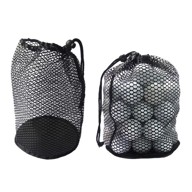 Golf Mesh Bag Black Nylon Mesh Net Bag Pouch Golf Tennis 12/25/50 Balls Holder Hold Ball Storage Closure Training Aid Durable