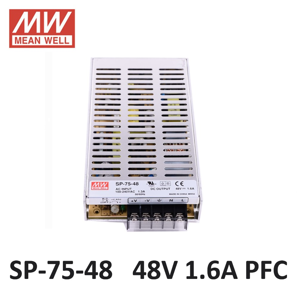 MEAN WELL SP-75-48 Switching Power Supply 48V 1.6A 75W PFC function 85-264VAC input Meanwell LED power supply driver DC 1.6A 48V