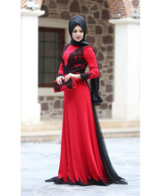 Elegant Long Sleeve Muslim Evening Dresses 2016 Red Chiffon With Black Lace Hijab Formal Evening Gowns Women Dress