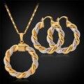 Venta caliente Dos Tonos Chapado En Oro Cadena de La Joyería de La Ronda Pendientes de Aro de moda Único Colgante Collar Fijado Para El Regalo de Las Mujeres PE683